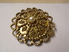 Round Fancy Edge, Gold Coloured Scarf Ring With Imitation Pearl Centre
