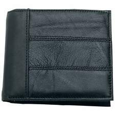 Black Genuine Leather Bi-Fold Wallet, Mens License, ID Window Money Card Holder