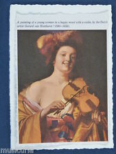 ak~ handmade greetings / birthday card VIOLIN PLAYER , HONTHORST PRINT