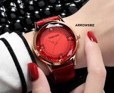 Butterfly Diamond Cut Glass Fashion Analog Wrist Watch Leather Strap 6 Colors