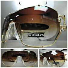HUGE OVERSIZE VINTAGE RETRO SHIELD Style SUN GLASSES Large Gold Frame Brown Lens