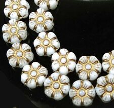 25 Czech Glass Daisy Flower Beads - White - Gold Inlay 8mm