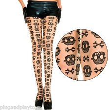 Sheer Beige Black Sugar Skull Pattern Day of the Dead Halloween Panythose Tights