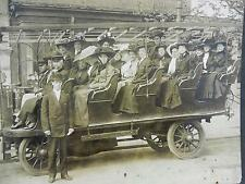Antique Mounted Photo of Electric Bus in Front of TSUE LUNG CO at 318 PA Ave, DC