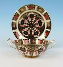 Royal Crown Derby Old Imari 1128 Cream Soup Bowl & Saucer Bone China Liner