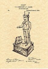 Patent Print - Antique Uncle Sam Mechanical Bank - Ready To Be Framed!