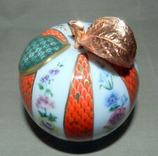 BEAUTIFUL ROYAL CROWN DERBY IMARI BONE CHINA APPLE FIGURINE WITH COPPER LEAF