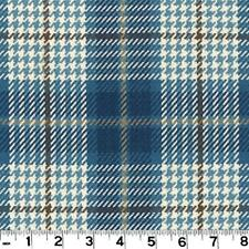 Roth & Tompkins Plaid Drapery Upholstery Fabric Brennan Cobalt Blue Grey Brown