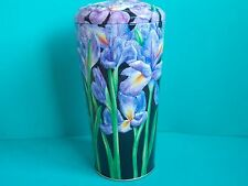 EMPTY SHORTBREAD BISCUIT TIN HOUSE of DORCHESTER EMBOSSED IRIS FLOWER VASE