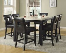 FAUX MARBLE COUNTER HEIGHT DINING TABLE BLACK CHAIRS DINING ROOM FURNITURE SET