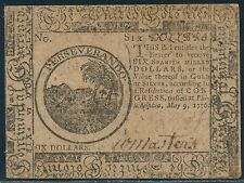 CC-36 AU+ CONTINENTAL CURRENCY NOTE $6.00 MAY 9,1776 HV7830