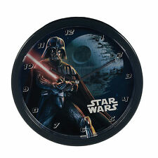 "OFFICIAL NEW 10"" STAR WARS BLACK DARTH VADER CHILDRENS CLOCK BEDROOM CLOCK"