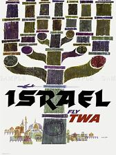TRAVEL TOURISM ISRAEL TWA MENORAH JERUSALEM AIRLINE VACATION AD POSTER 2404PYLV
