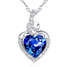 2.00 Cttw Created Blue Sapphire Heart Pendant Necklace Sterling Silver w/ Chain