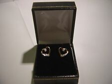 PRETTY-UNUSUAL HEART SWIRLS REAL DIAMONDS EARING STUDS-VERY CLASSY-QUALITY