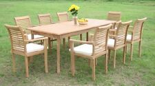 """Sam A-Grade Teak 9pc Dining 82"""" Rectangle Table 8 Stacking Arm Chair Set New"""