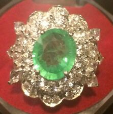 Natural Emerald Doublet 6.10ct, Ring,925 Sterling Silver.Size 6.5
