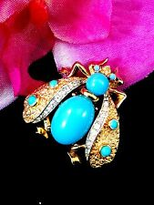EXQUISITE 60'S CROWN TRIFARI GOLD-TONE TURQUOISE CABOCHON RHINESTONE BEE BROOCH