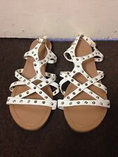 Barrats UK Size 7 White Golden Studs Flat Gladiators Sandal
