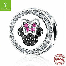 Disney 925 Sterling Silver Bow Knot Minnie Cartoon Bead Charm Fit Christmas Gift
