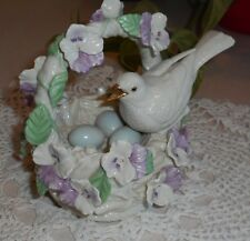 LENOX Music Box Porcelain BIRD on Nest with Eggs VIOLETS In Basket