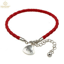 Family Memory Charm Mom Heart Red Leather Wristband Bracelet Bangle Gift