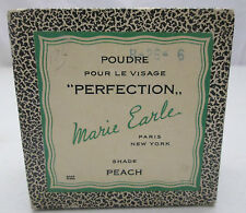 Vintage Marie Earle Poudre Pour Le Visage Perfection Peach Container  NY Paris