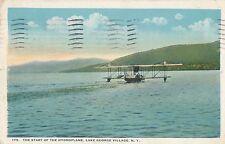 POSTCARD  AVIATION   USA  Lake George Village Hydroplane taking off