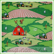 BonEful Fabric FQ Cotton Quilt Baby John Deere Green FARM Tractor Horse Cow Barn