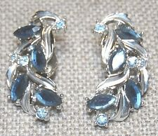 VINTAGE SILVER TONE BLUE CRYSTAL CLIP ON EARRINGS ~SIGNED: SAC SARAH COVENTRY