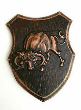 Wooden wall plaque,hand  carving, Wall hanging home decoration , buffalo