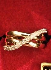 Affinity Diamond 14k yellow gold 1/3 ct tw crossover ring, size 6