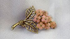 Vintage 1940s CROWN TRIFARI Lucite Pink Flower Bouquet Gold Tone Pin Brooch