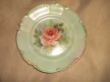 ELEGANT GREEN DISPLAY PLATE HUTSCHENREUTHER SYLVIA SIGNED ? PINK ROSE BLUSH RIM