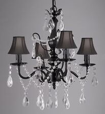 Wrought Iron & Crystal Black Chandelier Pendant with Shades Hardwire & Plug In