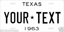 Texas 1963 License Plate Personalized Custom Auto Car Bike Moped Motorcycle Tag