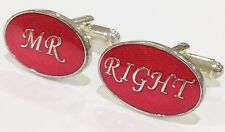 NOVELTY MR RIGHT RED WEDDING GROOM MENS DRESS CUFF LINKS CUFFLINKS (#1067)