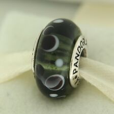 Authentic Pandora 790691 Black Bubbles Retired  Murano Glass Bead Charm