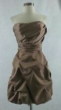 David's Bridal 10 L taupe beige strapless bridesmaid evening dress style 84091X