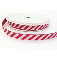 Full 25m Roll Red & White Stripe Candy Cane Grosgrain Ribbon 10mm Christmas Wrap