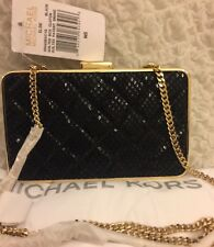 Michael Kors ELSIE Quilted Patent Snake Box Clutch/Xbody,BLK-NWT