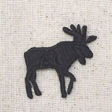 Iron On Embroidered Applique Patch Moose Black Silhouette Facing Right SMALL