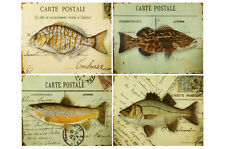 4x metal fish sign/picture nautical pictures postcard seaside theme 20cm x 25cm