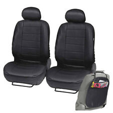 PU Leather Car Seat Covers for Auto Black Front Seat w/ Organizer Kick Mat