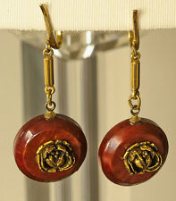 Vintage gold plated clip on earrings with reddish brown disks and sculpted rose