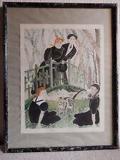 Cuadro pintura francesa acuarela pareja sobre un puente niños gato firmado por