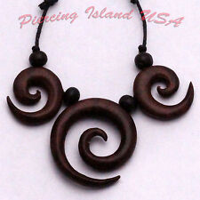 Necklace necklaces NJ-69 carved organic wood pendant spirals matching earrings