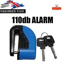6mm Motorcycle Motorbike Disc Lock + 110db Security Alarm NEW 2016 UK