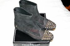 $749 CESARE PACIOTTI 8/38 Black Pull On Studded Suede Ankle Flat Boots ITALY