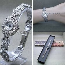Womens Vintage Marcasite Crystal Silver Tone Brass Bracelet Classic Watch LM02